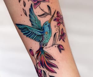 bird, body art, and floral image