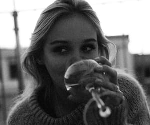 girl, wine, and black and white image