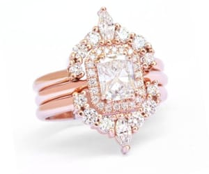 halo engagement ring, diamond halo ring, and rose gold ring image