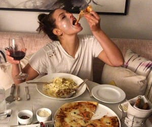 girl, pizza, and wine image