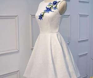 sleeveless prom dress, appliques prom dress, and prom dress white image