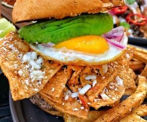 avocado, burger, and egg image