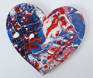 abstract art, wallart, and heart acrylic pour image