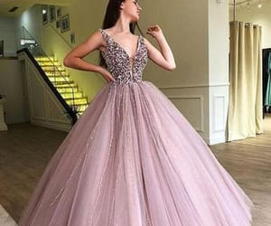 prom dress, evening dresses long, and pink prom dress image