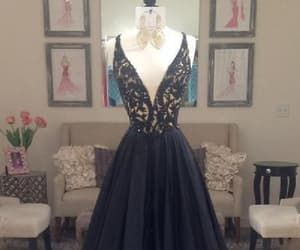 black prom dress, evening dresses lace, and prom dress cheap image