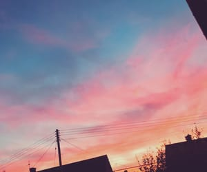autumn, red sky, and sky image