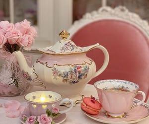 cake, pink, and tea image