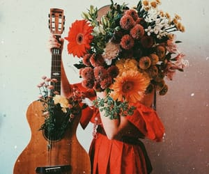 flowers, girl, and guitar image