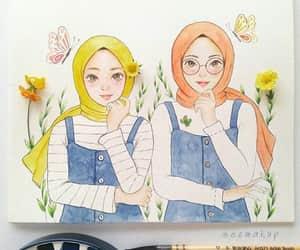 draw, الحجاب, and friends image