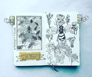 art, art journal, and bees image