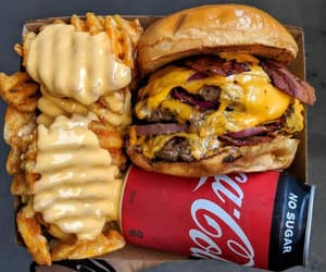 bacon, cheese, and coca cola image
