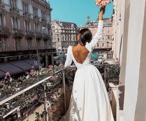 dress, balcony, and beauty image