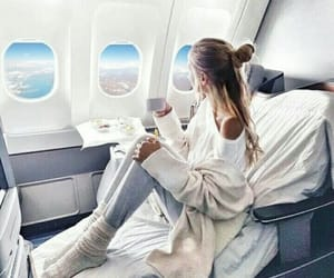 airplane, girl, and view image