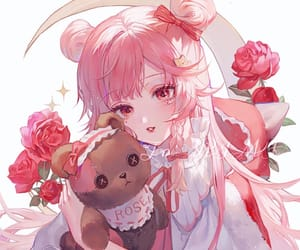anime, cute, and bow image