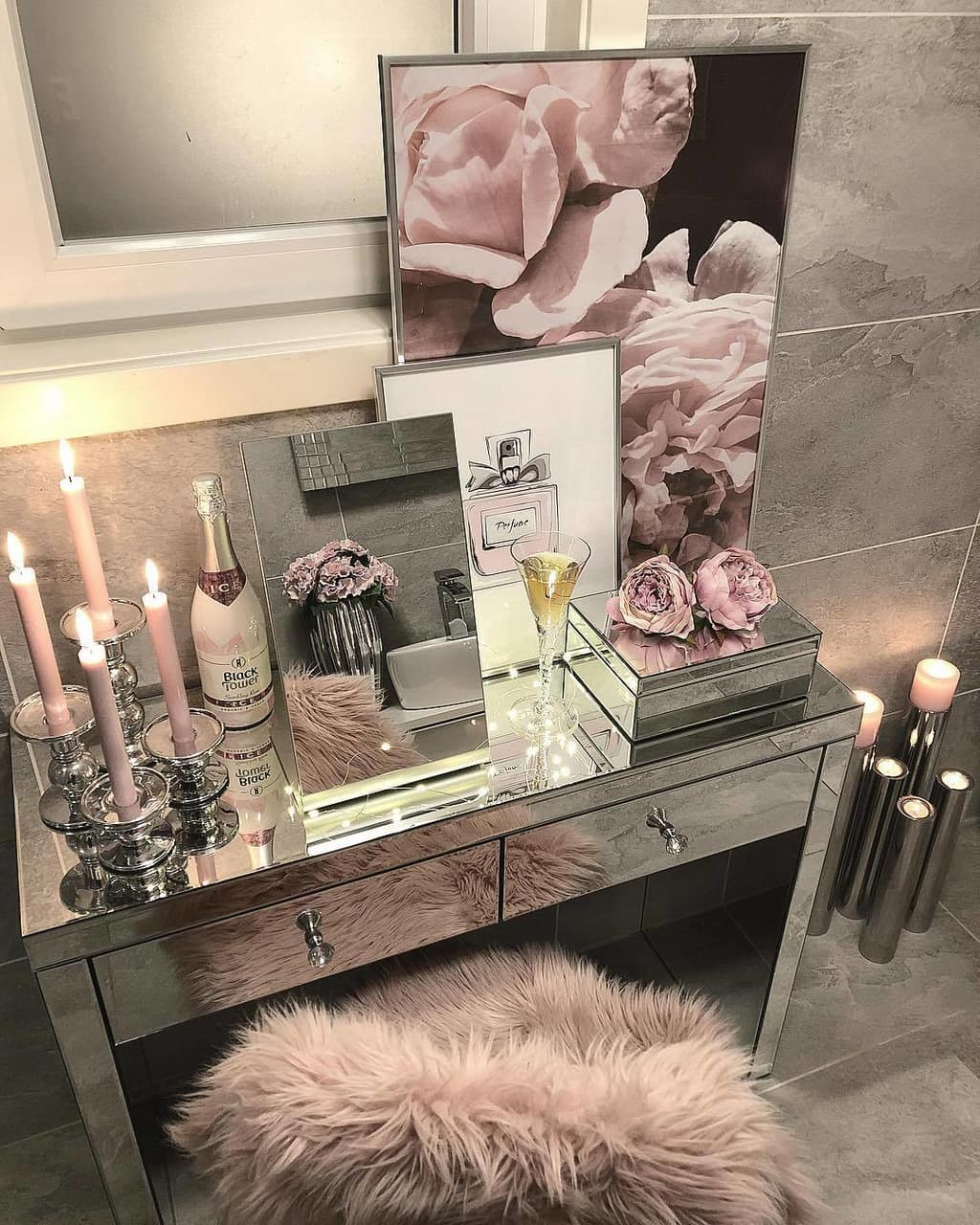 bedroom, candle, and flowers image
