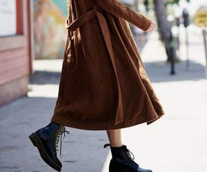coat, martens, and combat boots image