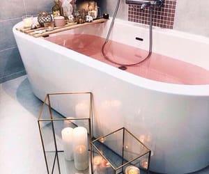 bathroom, bath, and pink image