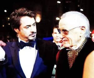 robert downey jr, stan lee, and iron man image