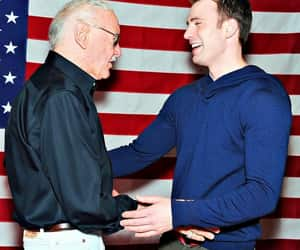 chris evans, stan lee, and captain america image