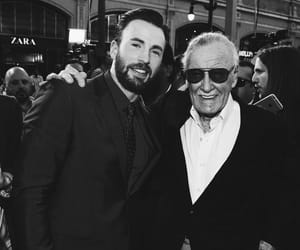 stan lee, chris evans, and Marvel image