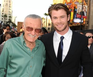 stan lee, chris hemsworth, and Marvel image