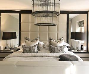 bedroom, chandelier, and furniture image