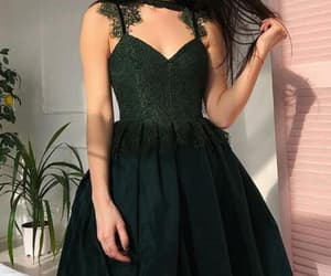homecoming dress green, short prom dress, and homecoming dress lace image