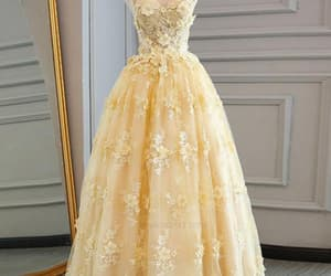 long prom dress, yellow prom dress, and lace prom dress image