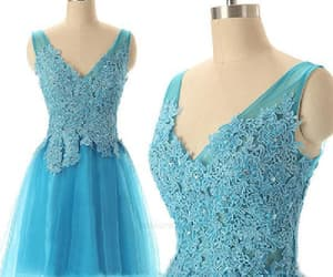 homecoming dress, prom dress v-neck, and blue prom dress image