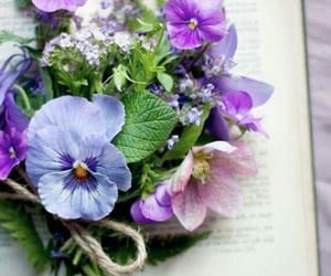 books, flowers, and purple image