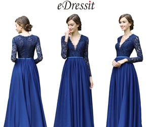 long sleeves, lace mother dress, and blue formal gown image