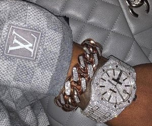 diamond, watch, and Louis Vuitton image