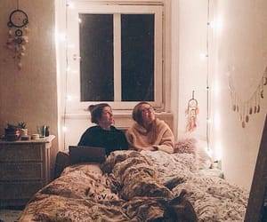 bed, friends, and bedroom image