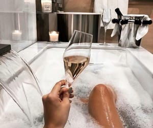 bath, champagne, and relax image