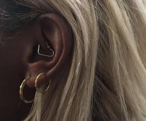 earrings, hair, and piercing image