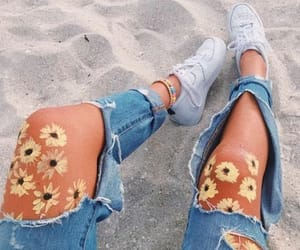 beach, flowers, and sand image
