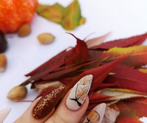 fall, october, and glitter nails image