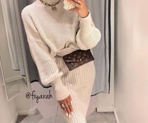louis vuitton belt, fashion style, and pullover beige image