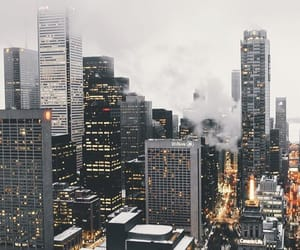 city, winter, and lights image