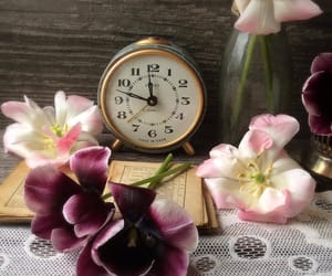 clock, photography, and flowers image