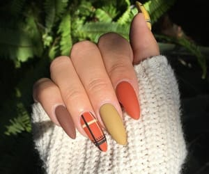 nails, orange, and brown image