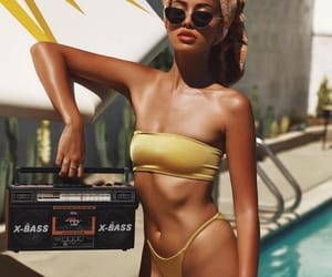 bikini, blue, and brown image