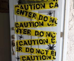 caution, yellow, and door image