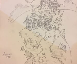 cartoon, castle, and drawing image