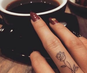 tattoo, rose, and coffee image