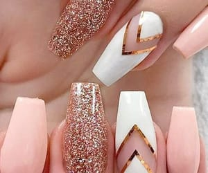 acrylic, gold, and nails image
