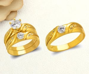 etsy, gold engagement ring, and gold wedding ring image