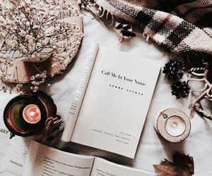 book, candle, and fall image