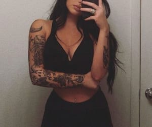 girl, tattoo, and selfie image