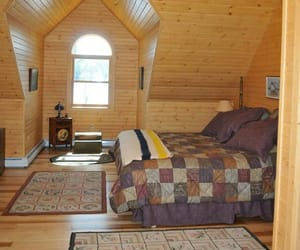 cabin, log home, and decor image
